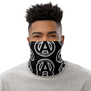 Giant AMP Logo, Art, Music, People Neck Gaiter Black with White