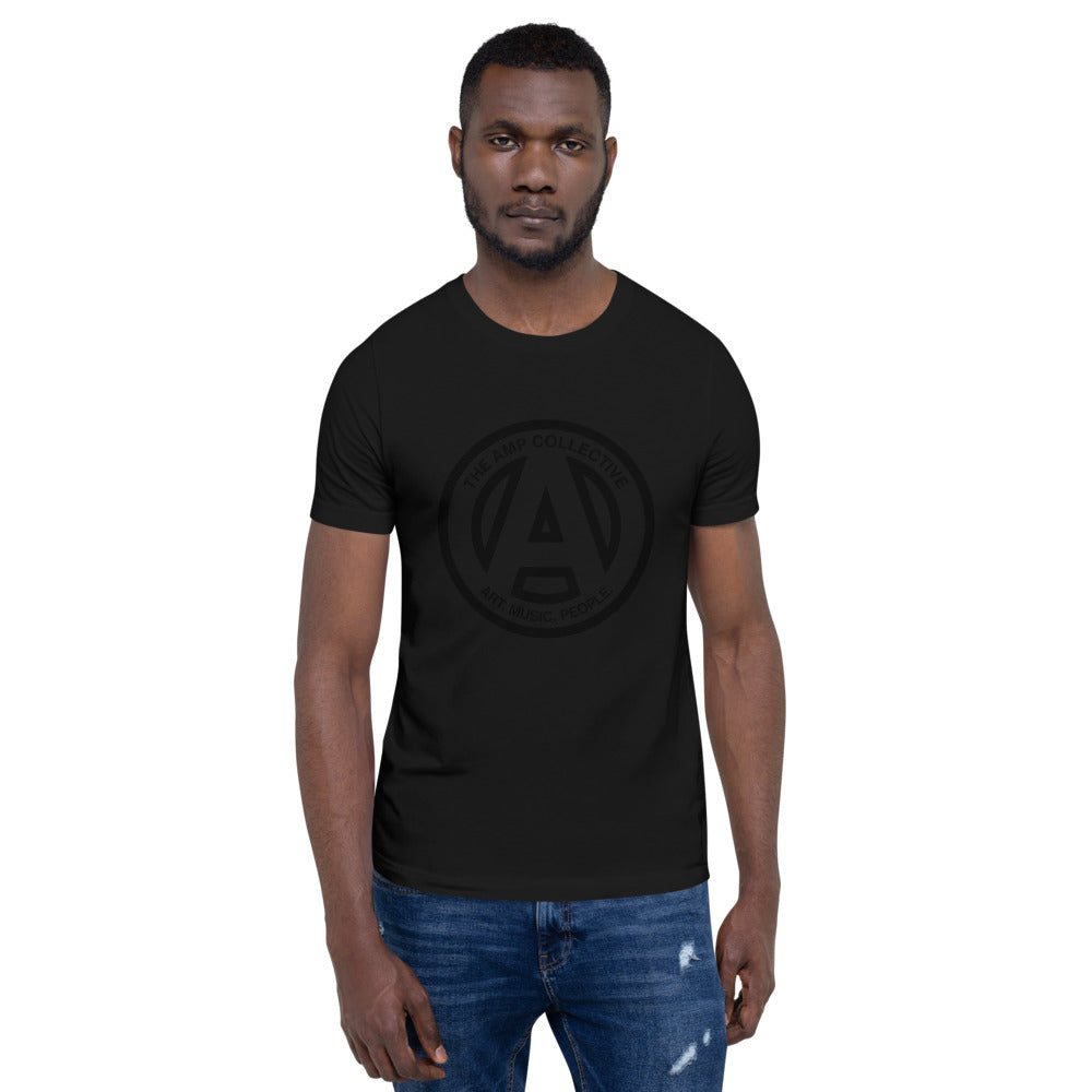 The AMP Collective Logo Tee, Black on Black Unisex Tee Shirt