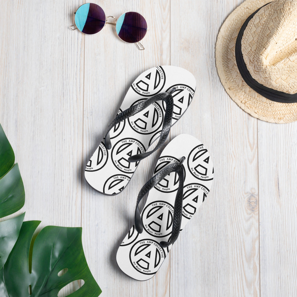 The AMP Collective All Over Logo Flip Flops| Art, Music, People