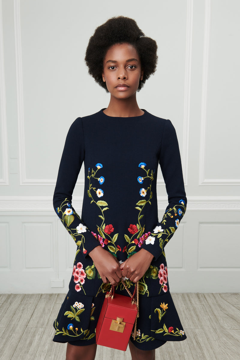 Embroidered Wool Crepe Dress - Runway