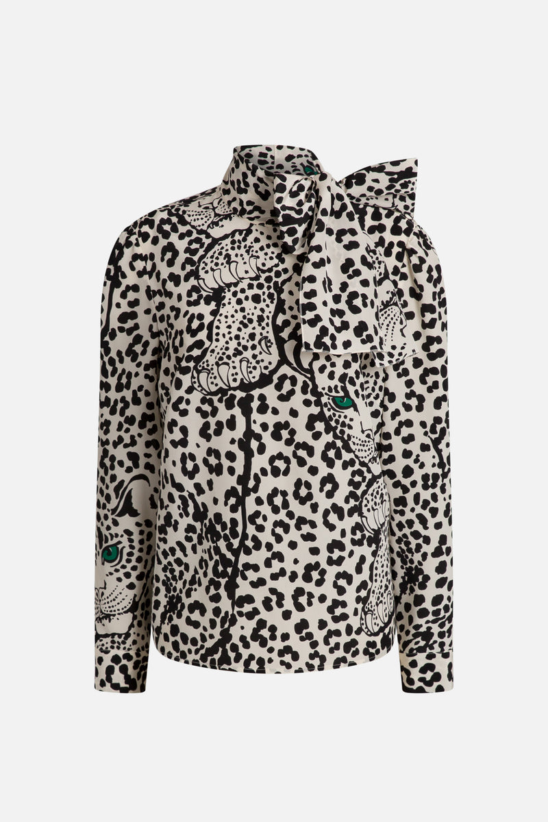 Panther Print silk blouse