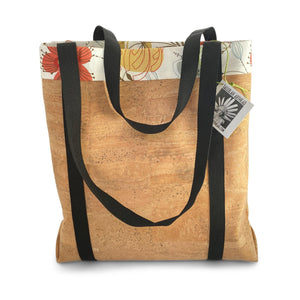 Cork market bag with lining and extra-long straps by Tallulah ArtHead