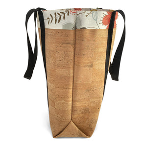 Side view of cork market bag with lining and extra-long straps by Tallulah ArtHead