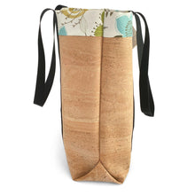Load image into Gallery viewer, Side view of cork market bag with lining and extra-long straps by Tallulah ArtHead