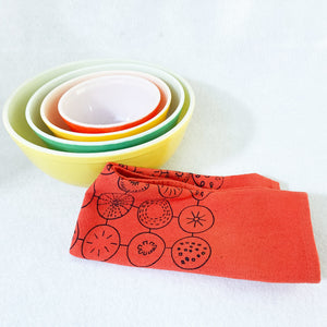 Hand dyed kitchen towel with vintage bowls