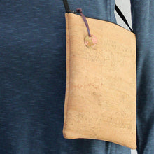 Load image into Gallery viewer, Detail of Cork cross body bag with hand-stamped, patinated brass tag