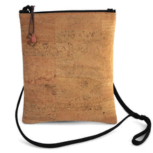 Load image into Gallery viewer, Cork cross-body bag with lanyard strap and stamped, patinated brass zipper pull from Tallulah Art•Head