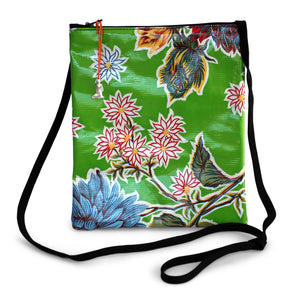 Green oilcloth cross-body bag with lanyard strap from Tallulah Art•Head