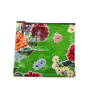 Green oilcloth large zipper pouch from Tallulah Art•Head