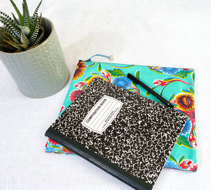 Large oilcloth journal or toiletries pouch with color variations