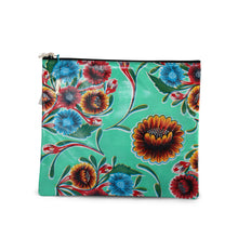 Load image into Gallery viewer, Mint green oilcloth large zipper pouch from Tallulah Art•Head