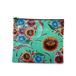 Mint green oilcloth large zipper pouch from Tallulah Art•Head