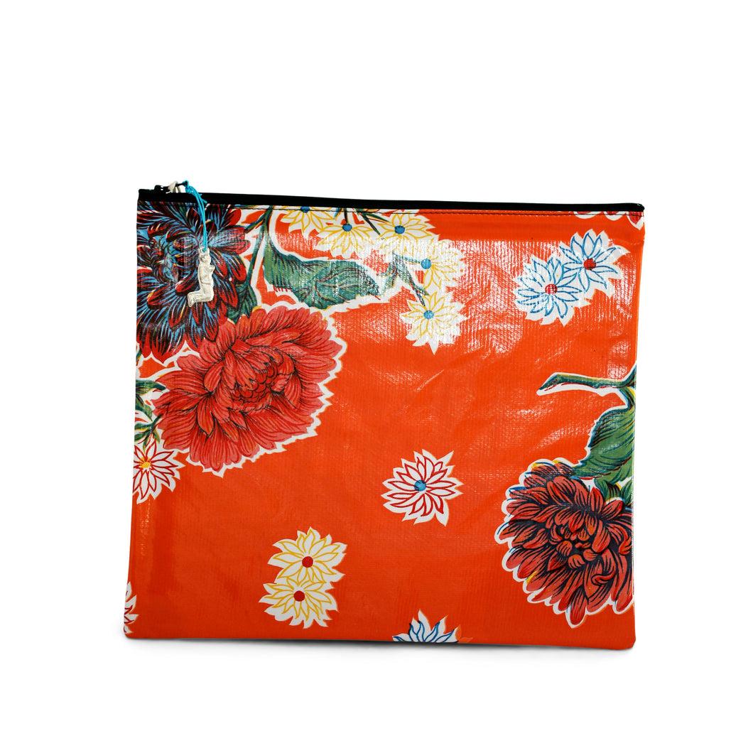 Orange oilcloth large zipper pouch from Tallulah Art•Head