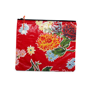 Red oilcloth large zipper pouch from Tallulah Art•Head