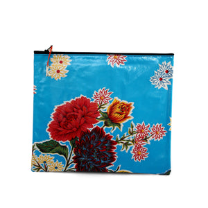 Turquoise oilcloth large zipper pouch from Tallulah Art•Head