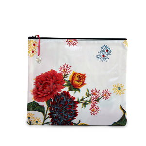 White oilcloth large zipper pouch from Tallulah Art•Head