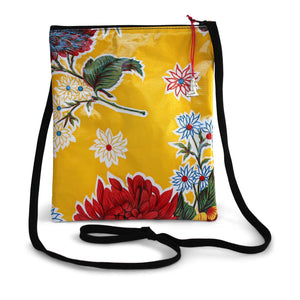 Yellow oilcloth cross-body bag with lanyard strap from Tallulah Art•Head