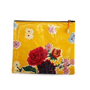 Yellow oilcloth large zipper pouch from Tallulah Art•Head