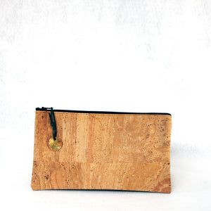Cork pouch with lanyard strap and stamped, patinated brass zipper pull from Tallulah Art•Head