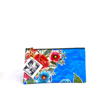 Load image into Gallery viewer, Small blue oilcloth pouch with red flowers from Tallulah Art•Head