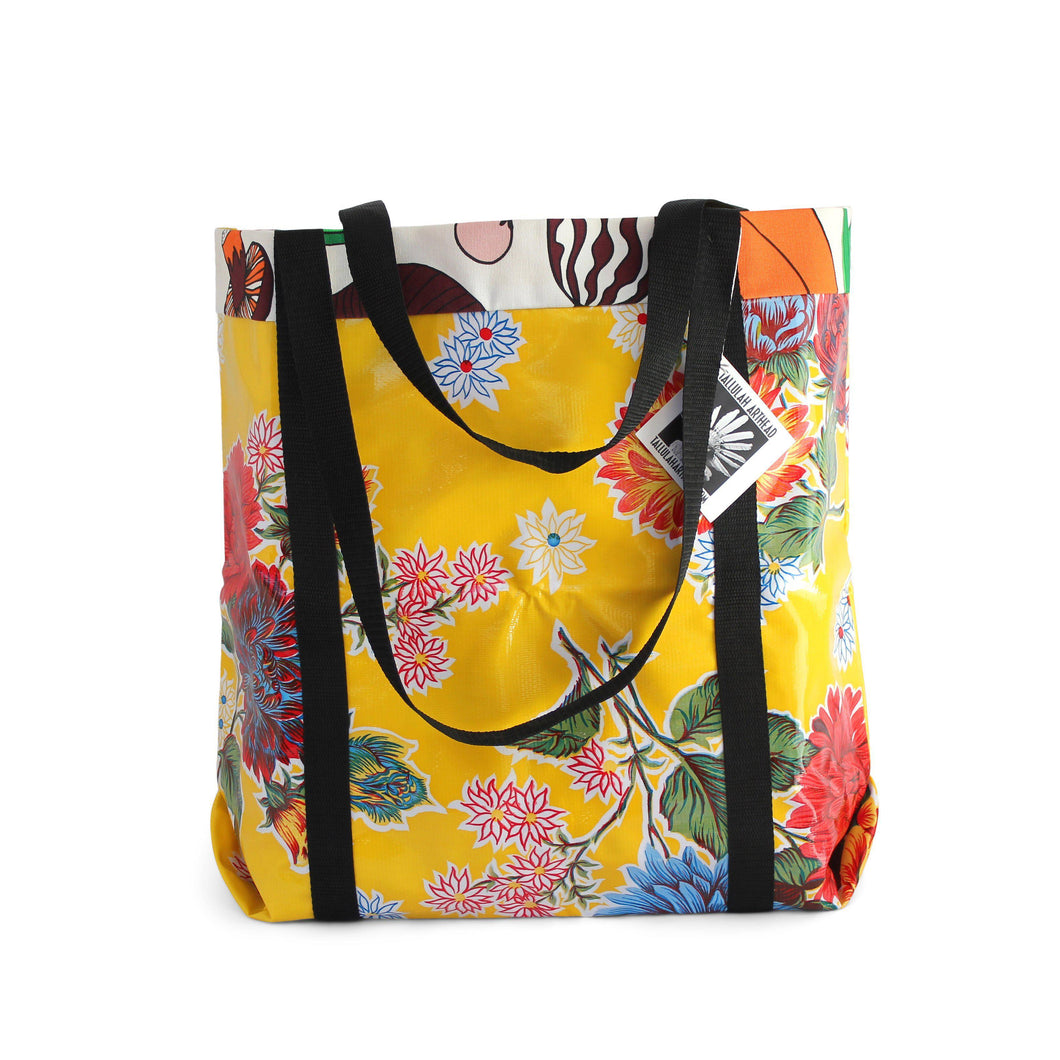 Yellow oilcloth market bag from Tallulah Art•Head