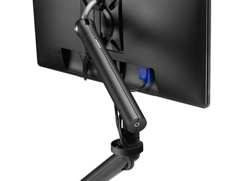 back view of dual black monitor stand set up
