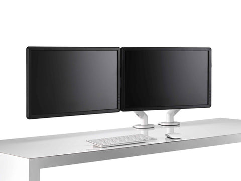 dual monitor stand set up