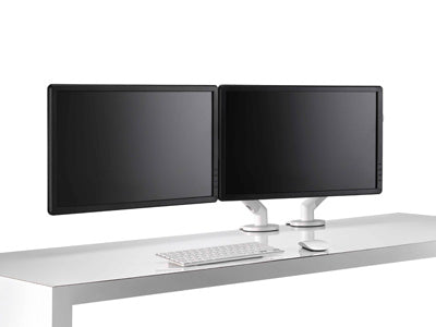 silver dual monitor stand set up
