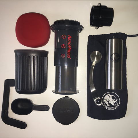 AeroPress Go and Rhino portable hand grinder compact kit