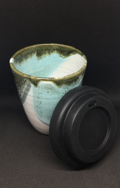 handmade ceramic travel cup with lid