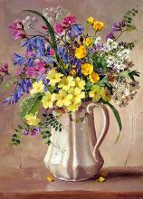 Anne Cotterill Blank card - Spring Flowers in the White Jug