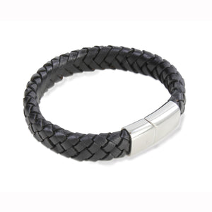 Black Leather Bracelet - The Alresford Gift Shop