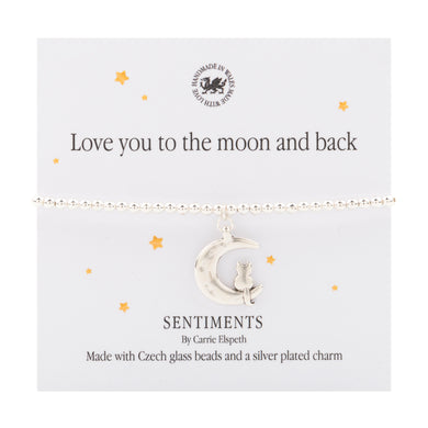 Sentiment bracelet - Love you to the moon and back - The Alresford Gift Shop