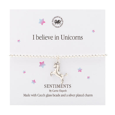 Sentiment bracelet -  I believe in unicorns - The Alresford Gift Shop