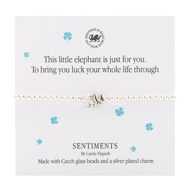 Sentiment  bracelet -  This little elephant is just for you. To bring you luck your whole life through - The Alresford Gift Shop