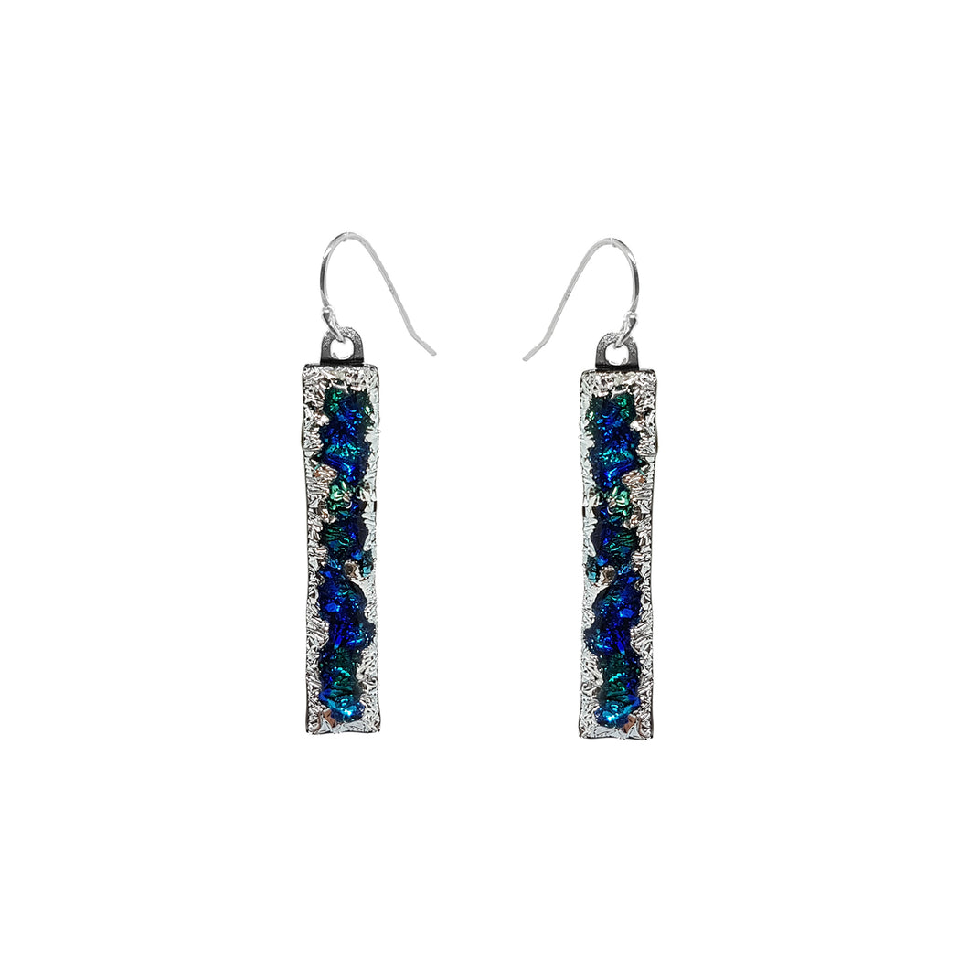 Fused glass drop earrings shades of blue with silver - The Alresford Gift Shop