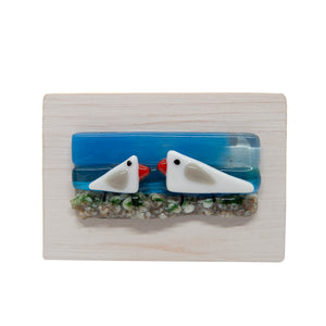 Fused glass locally made picture - seagulls ( landscape shape) - The Alresford Gift Shop