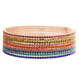 Gold plated multi coloured crystal rows elasticated bracelet