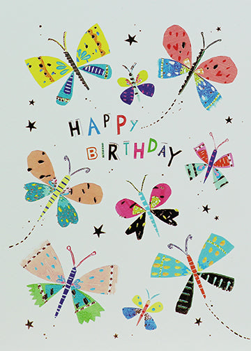 Happy birthday greeting card with butterflies
