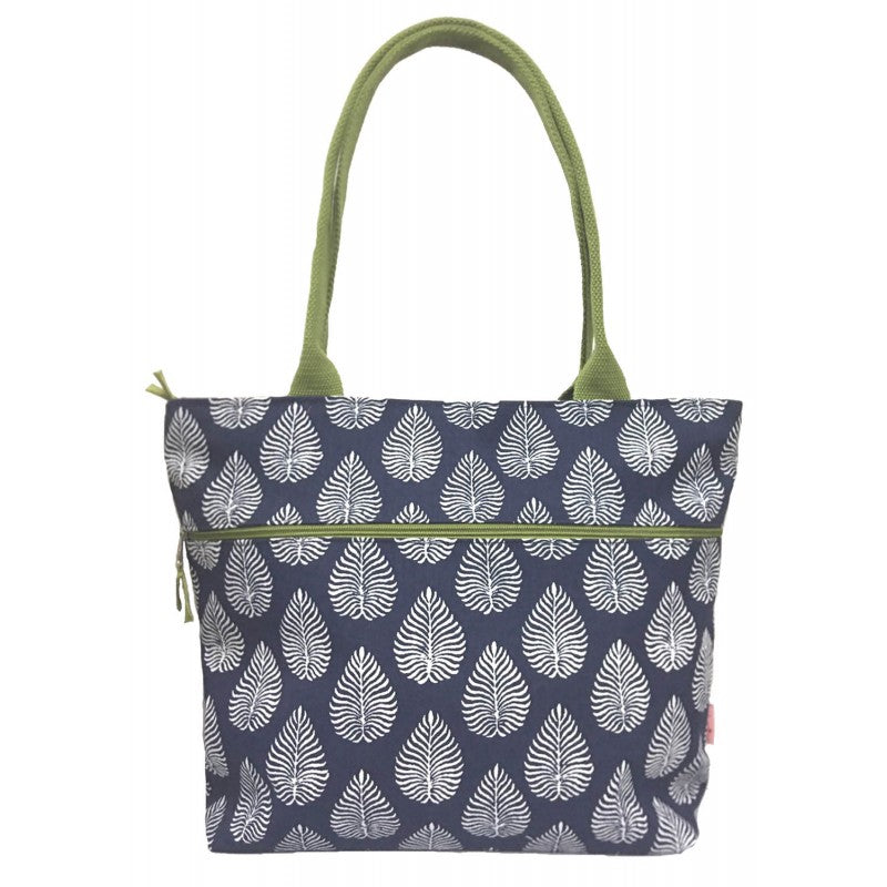 Tote shoulder bag - Navy leaf