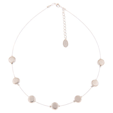 Brushed silver necklace - discs - The Alresford Gift Shop