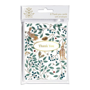 Thank you card pack - 8 cards - Hares and Berries by Dee Hardwicke
