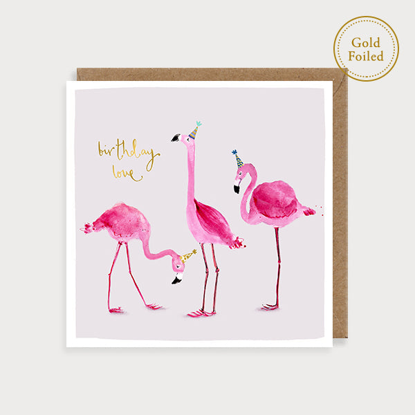 Birthday love - pink flamingos