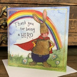 Thank you for being a hero , greeting card