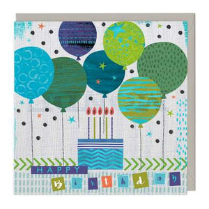 Blue and green balloons birthday card