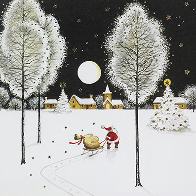 Charity pack of 6 cards in aid of CANCER RESEARCH AND NSPCC - Santa's Sleigh