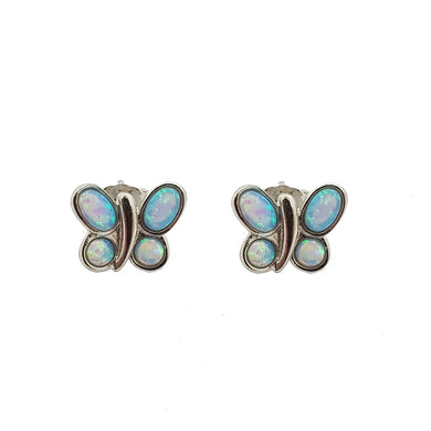 Opalite butterfly sterling silver studs - The Alresford Gift Shop