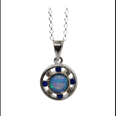 Clear and sapphire cubic zirconium opalite pendant - The Alresford Gift Shop