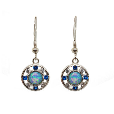 Clear and Sapphire cubic zirconium opalite drop earrings - The Alresford Gift Shop