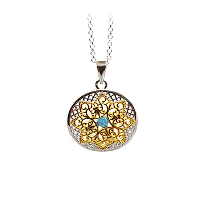Sterling silver disc with opalite in centre and gold plating - The Alresford Gift Shop